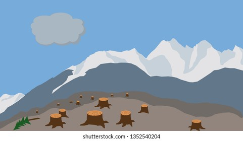 Simple drawing of a logged hillside with stumps and mountains in the background.
