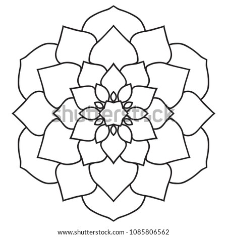 Simple Easy Mandala Beginners Hand Drawn Stock Illustration