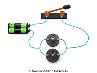 Simple electric circuit (parallel) on white background.3D Rendering.