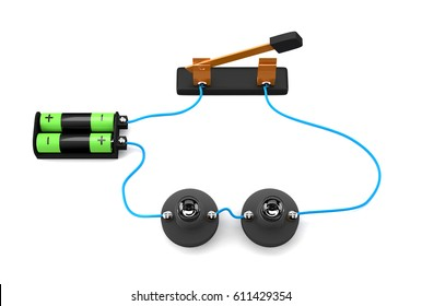 Simple electric circuit (series connection) on white background.3D Rendering.