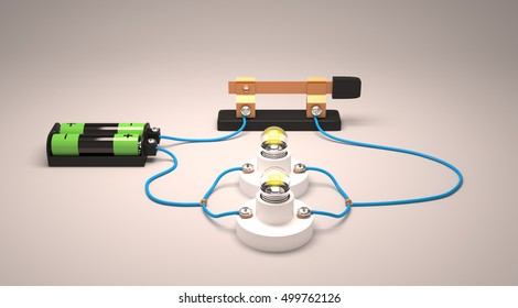 Simple electric circuit(parallel) 3D Rendering