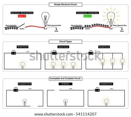 simple electrical circuit types complete incomplete stock rh shutterstock com circuit types for hallways circuit type ase