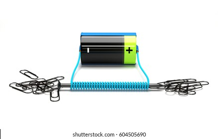 Simple electromagnet on a white background. 3D Rendering.