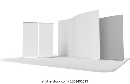 Simple Empty Blank Fair Trade Wall Area Mock-up With White Double Roll-ups. 3D rendering