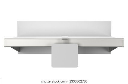 Simple Empty Shelf With Blank Wobbler. Front View. 3D render