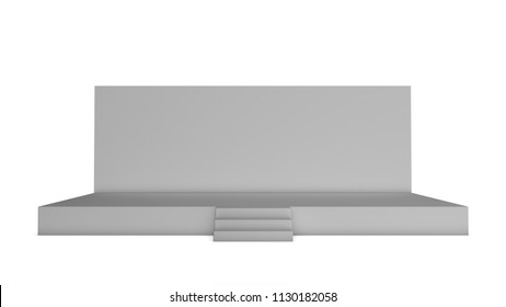 Simple event stage on white background. Front view. 3d illustration