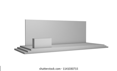 Simple event stage on white background. Side view. 3d illustration