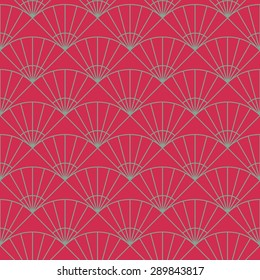 Simple fan backdrop. Based on Traditional Japanese Embroidery. Bright Seamless repetition. Based on Sashiko stitching - uchiwa.