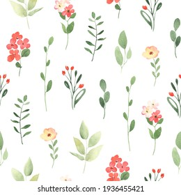 Simple floral pattern with small flowers and branches. Watercolor seamless print on white background, nature illustration for textile, wallpapers or wrapping paper.