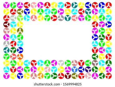 Simple frame made of antibody icons in a colorful circles, blank space, copy space in the middle