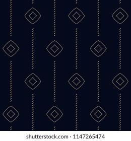 Simple geometric dot line dimond motif. Flat background. Vintage seamless ornament. Printing block for interior textile, scrap paper, fabric cloth. Indigo all over design. Set Peacock Pattern.