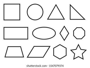 Simple geometry shapes set. Geometric primitives icons