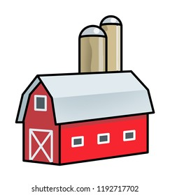 Simple graphic icon of a red barn