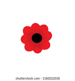 Simple Graphic of red poppy flower, petals only no steam