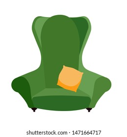 simple green comfortable armchair with yellow pillow. arty-crafty vintage sofa icon. Isolated flat cartoon illustration on white background