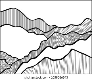 simple hand drawing of mountains of blacklines on the white background