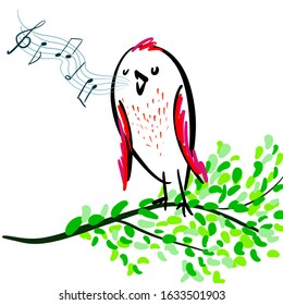 Simple hand drawn sketch of singing bird on a branch of tree with spring leaves. Sing a song, have fun. Childish design about joy and happiness in bright colors for vivid and remarkable design