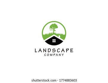 simple icon black house isolated grass and tree Logo Template Design inspiration