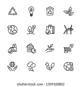 Simple icon set ecology and nature care. Protection and preservation of the environment. Conservation planet natural bio resources. Ecology, nature, energy, environment and recycle icons.