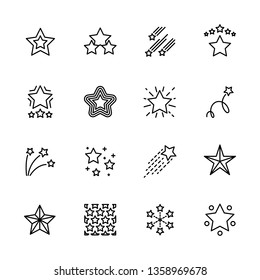 Simple icon set five star. Contains such symbols sky, Cristmas, favorite and night shining star in different shape