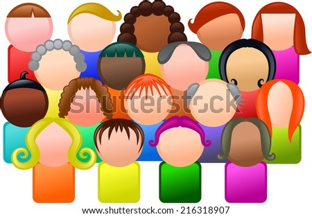 Simple icon style group of faceless and diverse people.