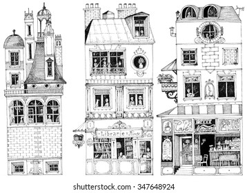 simple illustration french city houses shops apartments book shop coffee shop