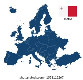 Simple illustration of a map of Europe with highlighted Malta and Maltese flag isolated on a white background