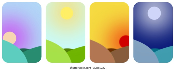 Simple illustration showing the times of day - dawn, midday, sunset and midnight.