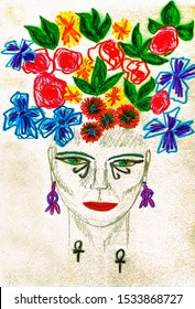 Simple image of ancient Egyptian goddess with flowers on her head drawn with wax crayons and markers in jpeg