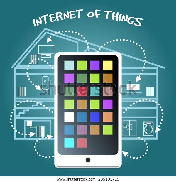 Simple Internet of Things Concept Graphic Design with Smart Phone Connecting Various Home Devices on Blue Green Background.