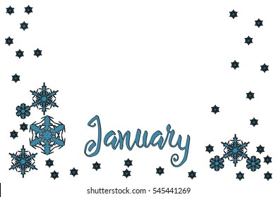 Simple January frame made in Photoshop.  Border in blue for month of January. Calendar frame with copy space in the middle.