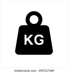 Simple KG weight silhouette icon, isolated on white isolated background. Raster Dumbbell icon.Flat design. Black silhouette.