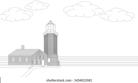 Simple Light House Landscape Coloring Page Illustration