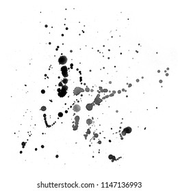 Simple light paint stains on paper. Splashes of black watercolor. Abstract painting in ink.