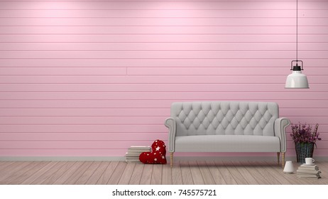 Pink Armchair Front White Wall Interior Stock Illustration 744521188 ...