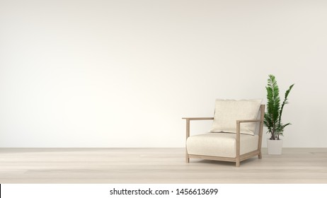 Simple living room white  armchair home interior, clean modern home design background, 3d rendering, Scandinavian design style.