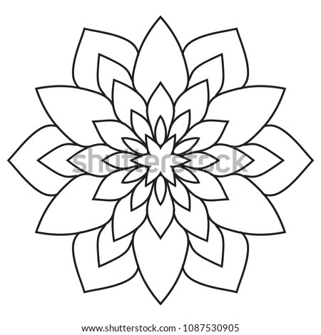 Simple Mandala Easy Beginners Senior Adults Stock Illustration