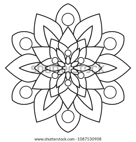Simple Mandala Easy Beginners Senior Adults Stock Illustration