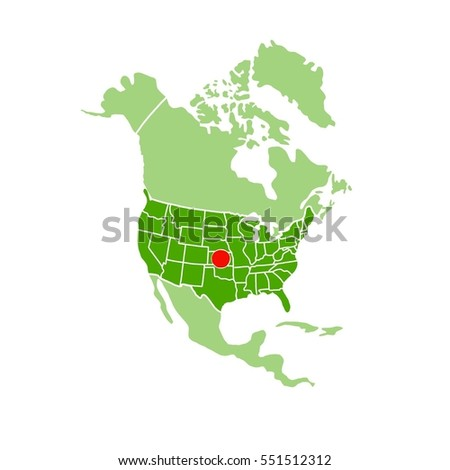 Map Of America Kansas.Simple Map America Showing Location Kansas Stock Illustration