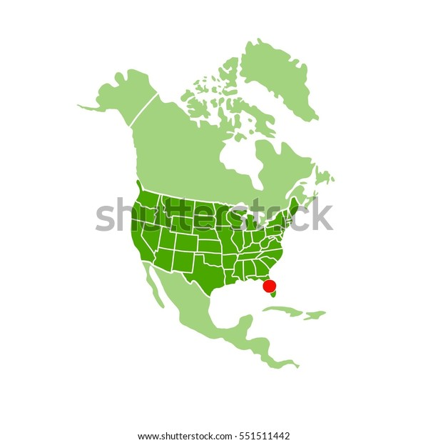 Simple Map America Showing Location Florida Stock ...