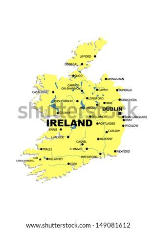 Simple Map Of Ireland.Simple Map Ireland Stock Illustration 149081612 Shutterstock