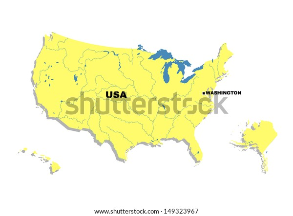 Simple Map United States America Stock Illustration 149323967 - Simple-map-of-us