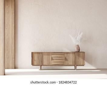 Simple minimal Nomadic style interior, 3d render