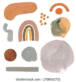 Simple minimalism gouache pastel color elements and stains, cute kid drawn style.