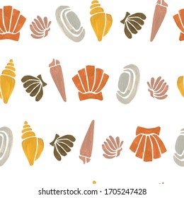 Simple minimalism seamless pattern with gouache pastel shells, modern creative style.