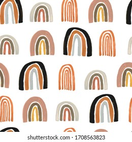 Simple minimalism seamless pattern with gouache pastel color rainbows, cute kid drawn style.