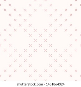 Simple minimalist floral texture. Geometric seamless pattern with small flower silhouettes, crosses. Subtle raster abstract background. Pink and white minimal ornament. Delicate repeatable design
