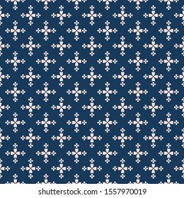 Simple minimalist floral texture. Geometric seamless pattern with small flower silhouettes, petals, leaves, crosses. Raster abstract background. Dark blue and pink minimal ornament. Cute repeat design