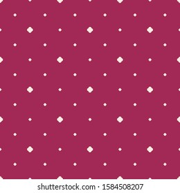 Simple minimalist geometric seamless pattern with small floral shapes, dots. Raster abstract background in burgundy and pink color. Subtle minimal texture. Elegant repeat design for decor, textile