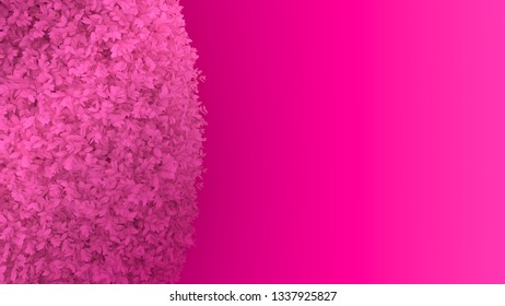 Simple minimalistic abstract 3D rendering of a gradient pink brush bush on a flashy hot pink background.. This is perfect for your web or print needs.